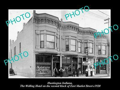 OLD LARGE HISTORIC PHOTO OF HUNTINGTON INDIANA, VIEW OF THE WELLING HOTEL c1920