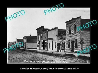 OLD LARGE HISTORIC PHOTO OF CHANDLER MINNESOTA, THE MAIN STREET & STORES c1920