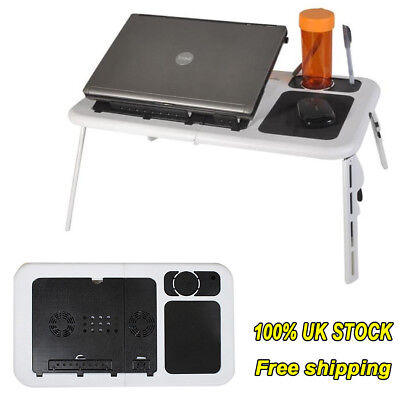 Adjustable Portable Laptop Lazy Table Bed Tray Notebook Desk W/ USB Cooling Fans