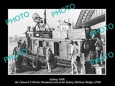OLD HISTORIC PHOTO OF SYDNEY HARBOUR BRIDGE, THE CHANNEL 9 OUTSIDE TV BOAT c1960
