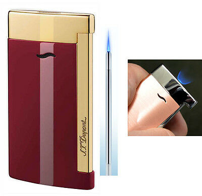 S T Dupont Slim 7 Lighter - Burgundy Lacquer and Gold finish