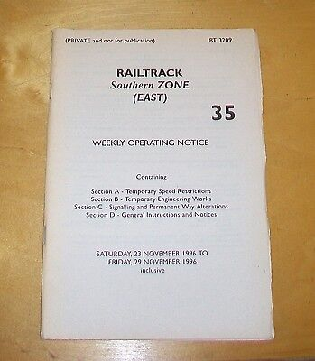 Railtrack South Zone 35 Weekly Operating Notice 23-29 November 1996