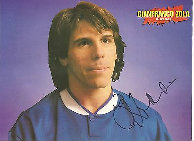 Gianfranco Zola, Chelsea signed autographed football magazine picture.