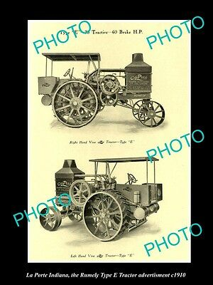 OLD LARGE HISTORIC PHOTO OF LA PORTE INDIANA, THE RUMELY TYPE E TRACTOR AD c1910