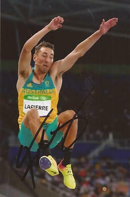 ATHLETICS: FABRICE LAPIERRE SIGNED 6x4 RIO 2016 ACTION PHOTO+COA *AUSTRALIA*