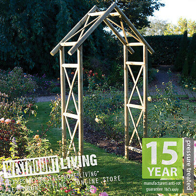 NEW Wooden Garden Rustic Rose Arch Trellis Archway Feature PRESSURE TREATED Wood