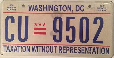 District Columbia Taxation license plate D.C. USA Graphic Washington DC #CU 9502