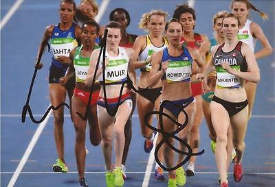 ATHLETICS: LAURA MUIR & SHANNON ROWBURY SIGNED 6x4 RIO 2016 ACTION PHOTO+COA