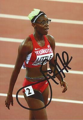 ATHLETICS: SHAMIER LITTLE SIGNED 6x4 ACTION PHOTO+COA *RIO 2016* *USA*