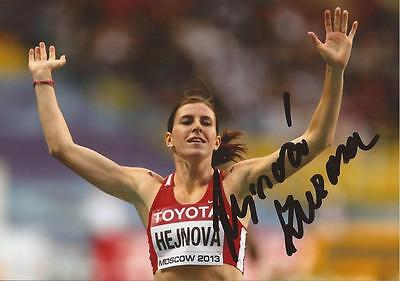 ATHLETICS: ZUZANA HEJNOVA SIGNED 6x4 ACTION PHOTO+COA *RIO 2016* *CZECH*