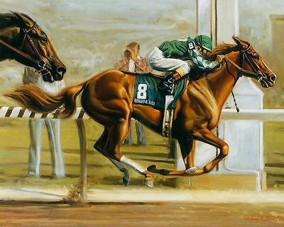 The horse racing Home Deco Oil Painting Modern Art Abstract  On Canvas L173