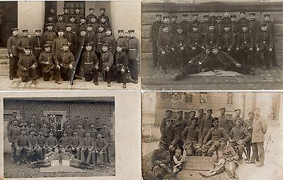 German soldiers group, wounded, 4 photographs set - WW1
