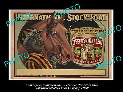 OLD LARGE PHOTO OF MINNEAPOLIS STOCK Co POSTER, HORSE FEED 3 in 1 c1900