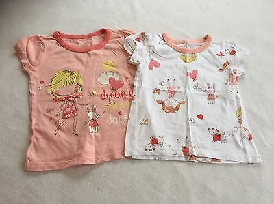 Baby Girls Clothes 12-18 Months-Cute  T Shirt Top X2