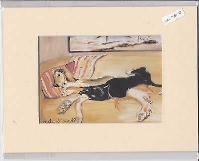 """8"""" X 6"""" MOUNTED  LITHOGRAPH PRINT of TWO SALUKI HOUNDS (on sette )"""