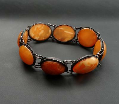 Beautiful Very Old Bracelet from Baltic Amber & Silver (800) 16.92 g 老琥珀 #E0013