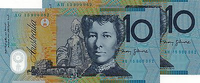 AUSTRALIA $10 2015 NEW Consecutive Prefix Identical Serial No x 2 UNC Banknotes
