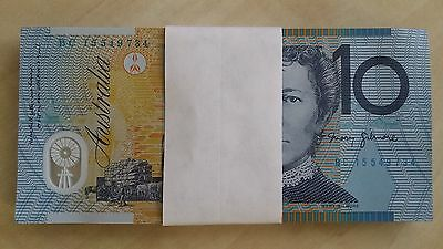 AUSTRALIA $10 2015 consecutive bundle NEW x 100 UNC polymer Banknotes