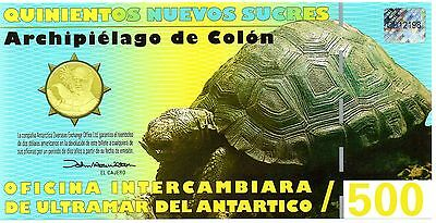 GALAPAGOS 500 Sucres 12 February 2009 UNC Polymer Banknote