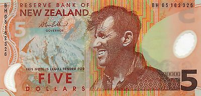 NEW ZEALAND $5 Dollars 2005 P185b 'Bollard' UNC Banknote