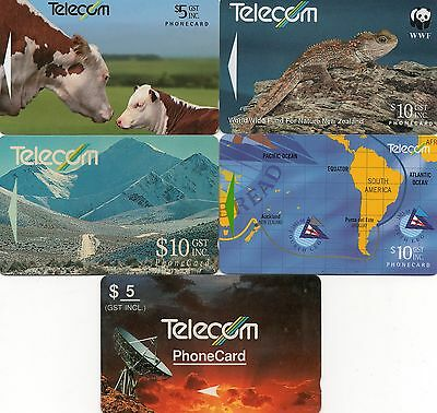 NEW ZEALAND 5 x Phone Cards (lot 1)