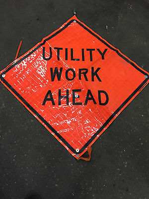"Utility Work Ahead Fluorescent Vinyl Road Sign 36"" X 36"""