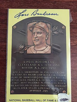 Louis Boudreau Autographed Hall Of Fame Yellow Plaque  Card