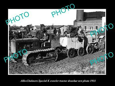 Old Large Historic Photo Of Allis Chalmers Special K Tractor 1933 Test Photo