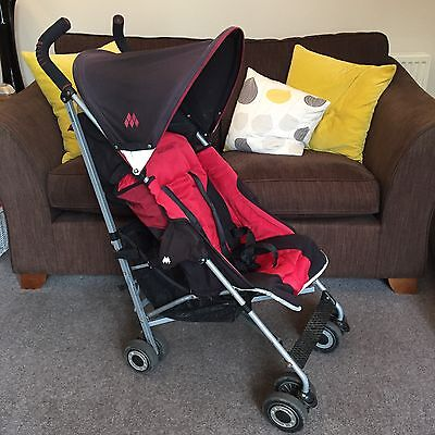 Maclaren Quest Sport Buggy in red and black. Red Foot Muff and rain cover. Used.