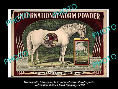 OLD LARGE PHOTO OF MINNEAPOLIS STOCK Co POSTER, HORSE MEDICINE WORM POWDER c1900