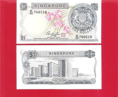SINGAPORE  p1d - $1 1972 Orchid Uncirculated