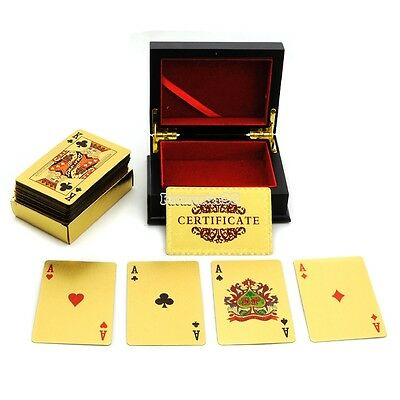 24K Gold Foil Plated EUR Poker Playing Cards $100 + Wood Box + Certificate FT