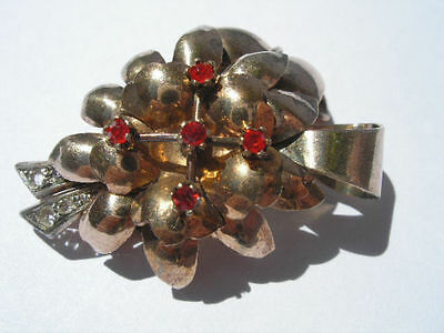Great Art Deco  1930/40 Silver, 18 K Gold Plated Dress Clip