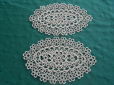 2 Beige Hand Tatted Lace Doilies,  Circa 1920
