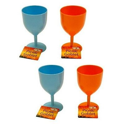 4 x Strong Plastic ReusableWine Glass/Goblets For Camping Picnics etc (RY692)