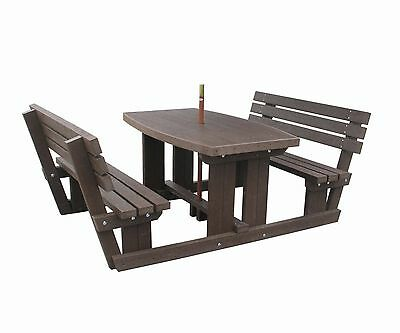 Walk Through Picnic Table Chairs Seat 100% Recycled Plastic-Maintenance Free