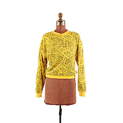 Vintage 80s 90s Bright Yellow + Black Abstract Grapic Aztec Print Sweatshirt L