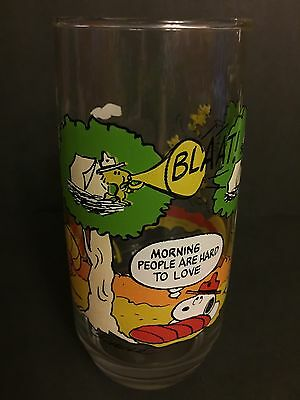 Morning People Are Hard To Love McDonald's Camp Snoopy Drinking Glass Vintage