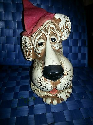 """Vintage 1970's Sad Droopy Eye Hound Dog White Durable Plastic Coin Bank 7.5"""""""