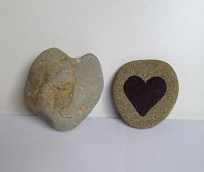 Heart Shaped and Painted Rocks, Lot of 2 Natural Stones