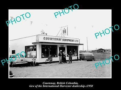 OLD HISTORIC PHOTO OF COURTENAY BC CANADA, INTERNATIONAL HARVESTER STORE c1950