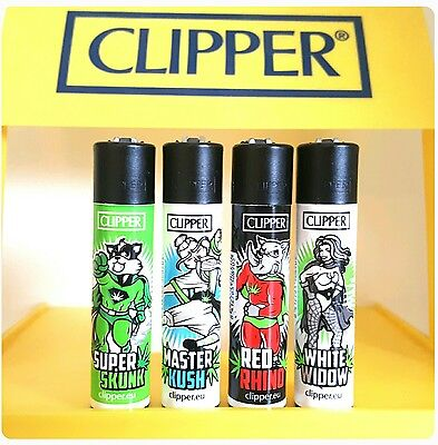 Clipper Lighters x4 Cool Rare Black Top Funny Stoned Super Heroes Captain Skunk