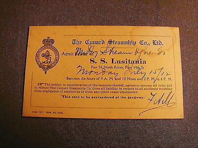 Antique The Cunard Steamship Co Ss Lusitania Card - July 15, 1912 - Mr Sheare
