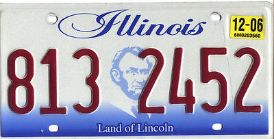 Illinois 2006 Graphic Embossed License Plate 813 2452 $9.99 No Reserve!!!!