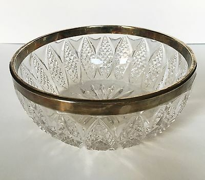 "VTG Pressed Cut Glass Salad Serving Bowl Silver Plated Chrome Rim 8.25"" Italy"