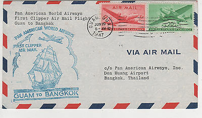 "Pan American Flight- 1947 "" Guam To Bangkok "" Cover"