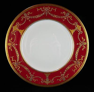 Coalport China Gold Encrusted Urns & Floral Swags Crimson Cabinet Plate