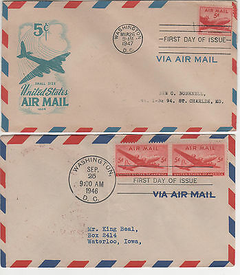 Usa - 2  Early 1946/47  Airmail First Day Covers - Rare
