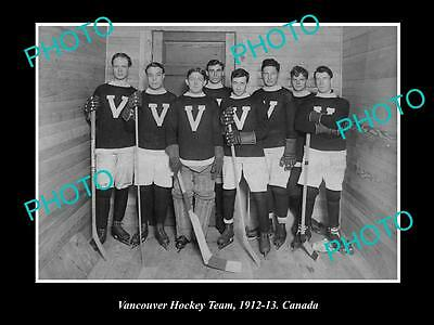 Old Large Historic Photo Of Vancouver Canada, The Vancouver Ice Hockey Team 1912