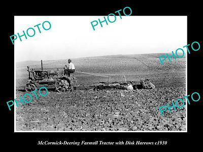 OLD LARGE HISTORIC PHOTO OF McCORMICK DEERING FARMALL TRACTOR & HARROWS c1930